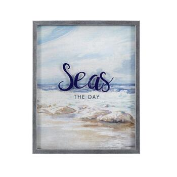 "16""x20"" ""Seas The Day"" Silkscreen Framed Wall Decor"