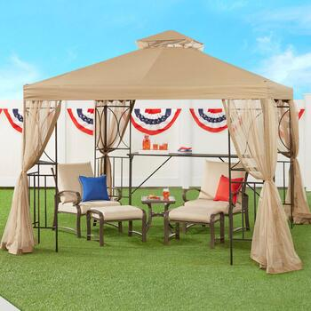 10'x10' Outdoor Gazebo with Shelves and Netting