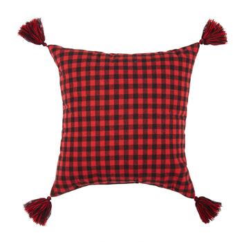 """Merry Christmas"" Plaid Snowflake Tassel Square Throw Pillow view 2"