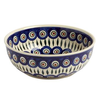 Polish Pottery Peacock Feathers Handmade Mixing Bowl