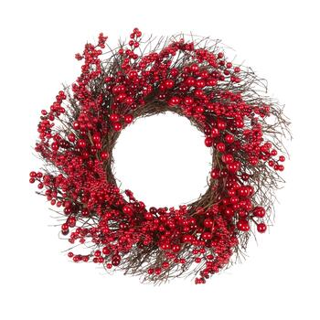 "22"" Red Berries Artificial Twig Wreath"