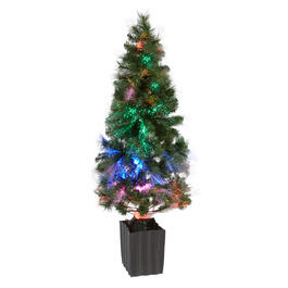 4.5' Fiber Optic Rainbow Lights Porch Tree view 1
