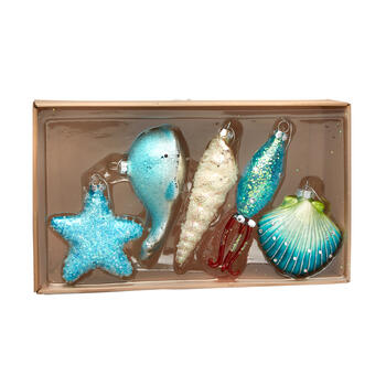 Embellished Glass Coastal Christmas Ornaments, Set of 5 view 1