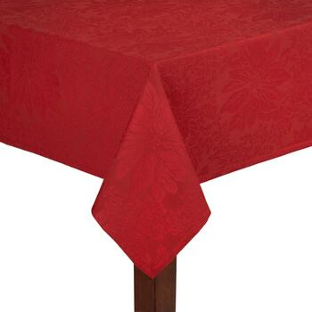 Red Poinsettia Jacquard Cotton Tablecloth