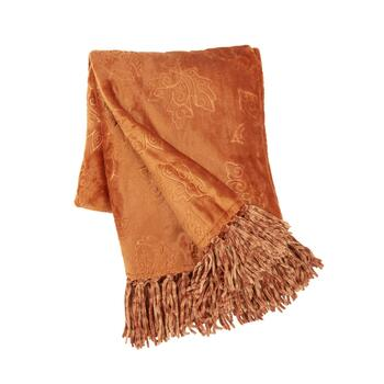 Leaf Embossed Fringe Throw Blanket
