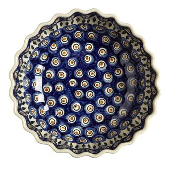 Polish Pottery Peacock Feathers Large Fluted Serving Bowl view 2