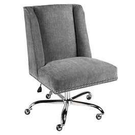 Charcoal Draper Rolling Office Chair with Nailheads