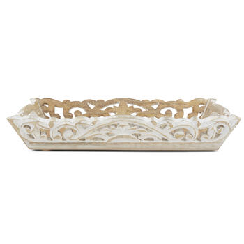 Petal and Stone™ White Wood Tray view 3