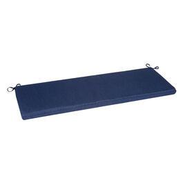 Solid Dark Blue Woven Indoor Outdoor Bench Seat Pad View 1