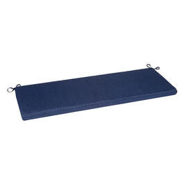 Solid Dark Blue Woven Indoor/Outdoor Bench Seat Pad view 1