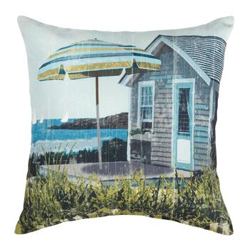 Patio Umbrella Indoor/Outdoor Square Throw Pillow