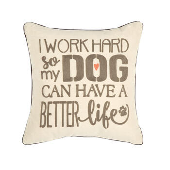 """I Work Hard"" Square Throw Pillow view 1"