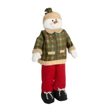 "30"" Green Plaid Jacket Standing Snowwoman"