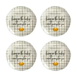 "Plaid ""Pumpkin Pie"" Heavyweight Melamine Dinner Plates, Set of 4"