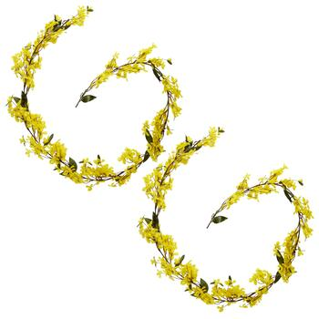 6' Artificial Forsythia Garlands, Set of 2