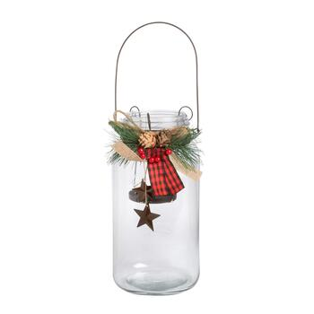 "11.5"" Mason Jar Candleholder with Hanging Stars"