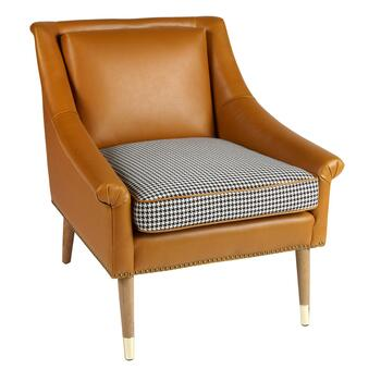 Faux Leather Accent Chair with Houndstooth Cushion