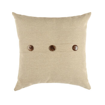 Solid Beige Woven Indoor/Outdoor 3-Button Square Throw Pillow view 1