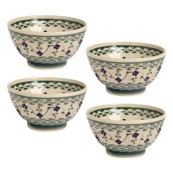 Polish Pottery Green Basketweave Fluted Cereal Bowls, Set of 4