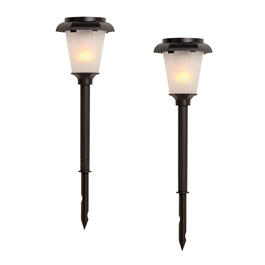 Black Solar Hexagon Torch Light Yard Stakes, 2-Pack view 1