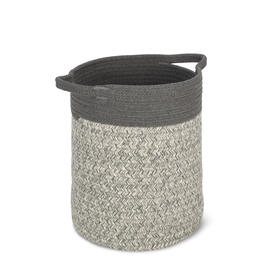 Gray Black Cotton Rope Soft Storage Bin view 1