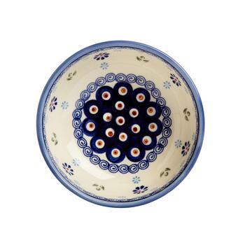 Polish Pottery Peacock Feathers Handmade Serving Bowl view 2