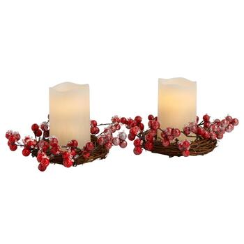 Frozen Cranberry Wreath LED Candles with Timers, Set of 2
