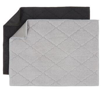 Solid Gray and Black Quilted Drying Mats, Set of 2 view 2
