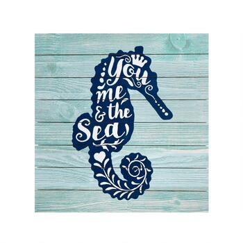 "20""x20"" ""You Me and the Sea"" Seahorse Wall Decor"
