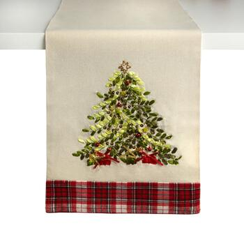 Plaid Holiday Tree Embellished Table Runner