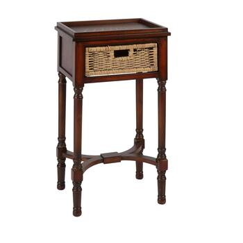 "29.5"" 1-Basket Hourglass Legs Square Accent Table"