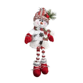 "16"" Sled Snowman Sitter with Dangling Wood Legs"
