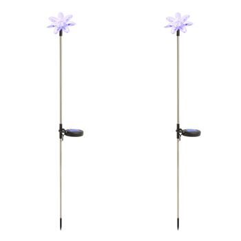 "30"" Color Changing Solar Light Flower Stakes, Set of 2"