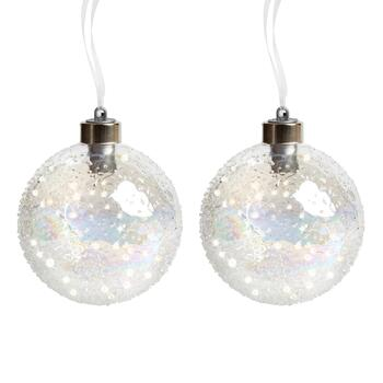 100mm LED Beaded Glass Ball Ornaments, Set of 2