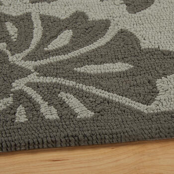 Gray Floral All-Weather Hand-Hooked Rug view 2