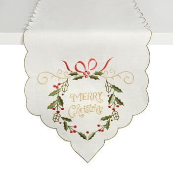 """Merry Christmas"" Holly Wreath Cutwork Table Runner"