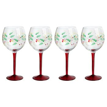 Holly Berry Red Stem Balloon Wine Glasses, Set of 4