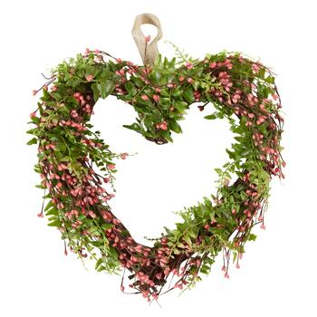 "13.5"" Pink Flower Hanging Heart Wreath"