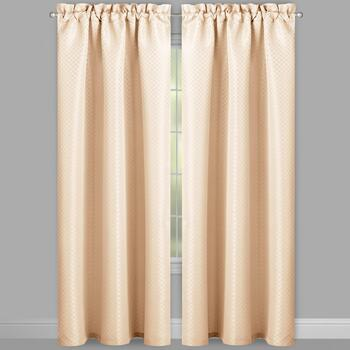 Jacquard Grid Window Curtains, Set of 2 view 2