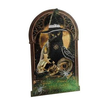 "28.75"" Mystical Black Cat Wood Easelback Sign"