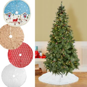 Pre-Lit Christmas Trees & Tree Skirts