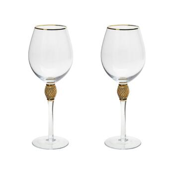 Gold Luxe Clear Rhinestone Wine Glasses, Set of 2