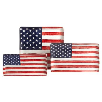 USA Old Glory Ceramic Serving Platter Collection