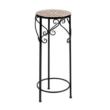 Mosaic Tile Scroll Round Plant Stand