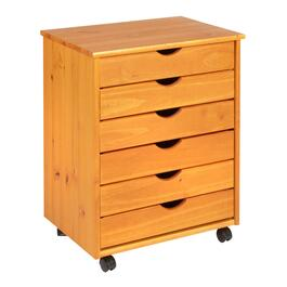 "20"" Wooden 6-Drawer Rolling Cabinet"