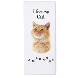 I Love My Orange Cat Kitchen Towel view 1