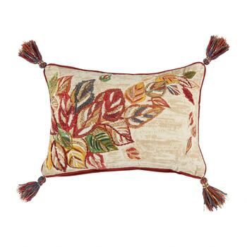 Red/Orange Leaves Tassel Oblong Throw Pillow