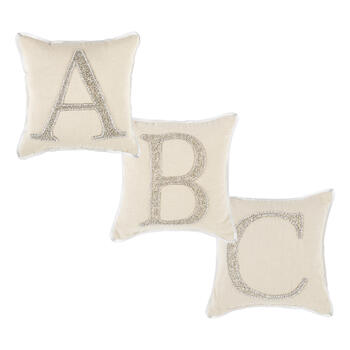 Beaded Silver Monogram Square Throw Pillow view 1
