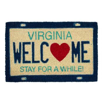 """Welcome"" Virginia License Plate Coir Door Mat"