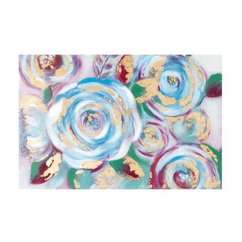 "24""x36"" Multicolor Gold Flowers Canvas Wall Art view 1"
